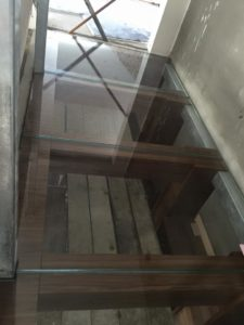 Glass floor in 1st floor cellar 4 panels 35 mm thick