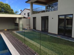 Pool fencing and balustrading - Round spigots and Concrete strip footing under decking