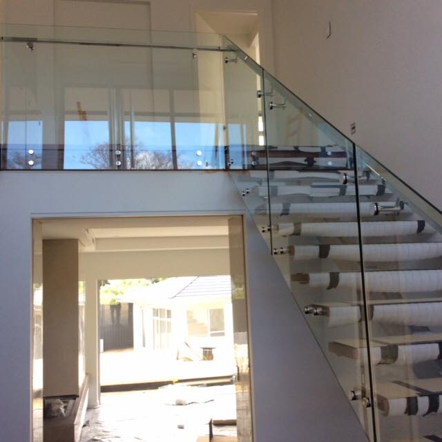 Internal Glass Balustrading Face Fixed To Timber Stair