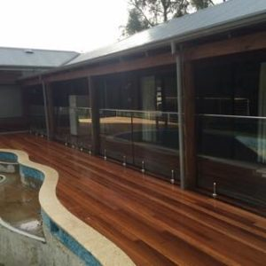 Frameless Glass pool fence on decking